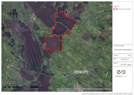Map of proposed wind farm at Coole